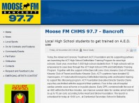 2013-11-22 - Moose FM Bancroft 97.7 - Local High School students to get trained on AED use