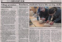 2015-10-30 Haida Gwaii Observer - Teachers, students learn life-saving skills