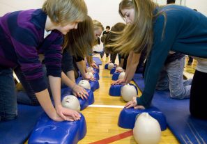 teachers doing cpr training
