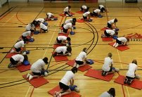 group of students in gym