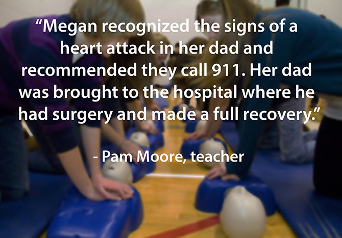 Megan helps her father during heart attack image