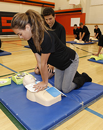 Vale doing cpr training