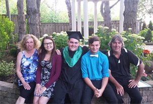 3 students with their parents