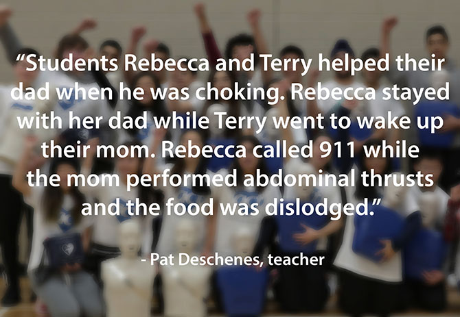 Students save father from choking