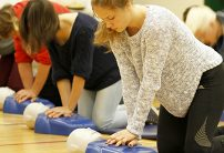 Belleville students doing cpr training