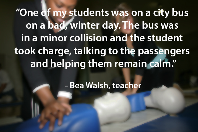 Student takes charge during bus collision image