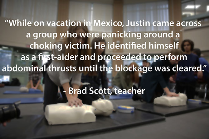 justin saves a stranger from choking in Mexico image