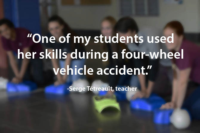 student helps during an accident image
